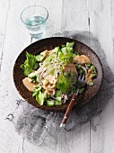 Vegan soba noodle salad with miso dressing and cashew pulp (Sirtfood)