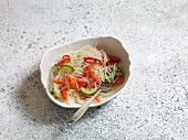 Spicy glass noodle salad with red pepper and cucumber