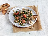 Mediterranean chickpea dish with lamb fillet