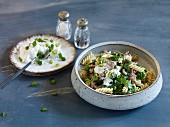 Quick and easy pasta dish with lamb, yoghurt and mint