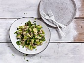 Brussel sprouts with brown lentils