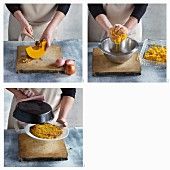 Pumpkin and potato rostis being made