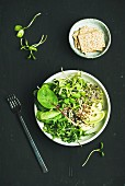 Green vegan breakfast meal in bowl with spinach, arugula, avocado, seeds and sprouts and crispy bread