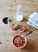 Grain-free nut muesli with pomegranate seeds