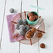 Various energy balls (chocolate and chia, cranberry and almond, and fig and walnut)
