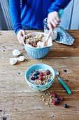 Crunchy almond muesli with egg whites