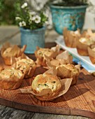 Bear garlic muffins wrapped in baking paper