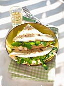 Piadina with Squacqurone cheese and rucola salad, Emilia Romagna, Italy