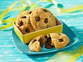 Chocolate chip cookies with decorative ribbon