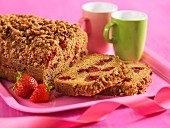 Strawberry crumb cake, sliced