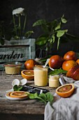 Homemade Blood orange curd in a jar
