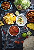 Vegan Mexican dishes: guacamole with tortilla chips, salsa, chopped jackfruit, and chilli con carne