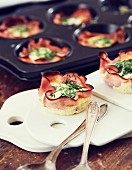 Gluten-free egg muffins with ham, cheese and chives
