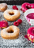Heart shaped doughnuts with a raspberry glaze