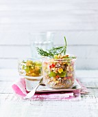 Buckwheat salad with lentils in a glass jar