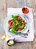 Chickpea and melon salad