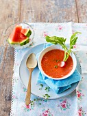 Cold tomato and melon soup