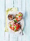 Open sandwiches with smoked meat, tomatoes and radishes