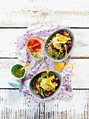 Burrito bowls with corn and kidney beans