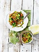 Paella with broccoli, peas and mushrooms
