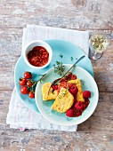 Celery and polenta fritters with a fruity tomato sauce