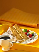 Slice of banana coffee cake with berries