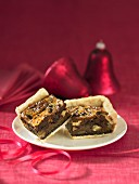 Dark chocolate pecan squares with Christmas decor