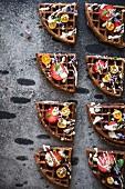 Schokoladenwaffeln mit Früchten