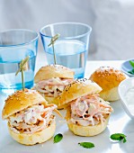 Mini hamburgers with pulled chicken and coleslaw