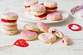 Almond biscuits with pink icing for Valentine's Day