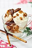 Vanilla ice cream with honeycomb and salted pecans