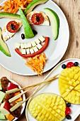 Gemüsegesicht für die Kinderparty