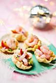 Shrimp canapes for Christmas