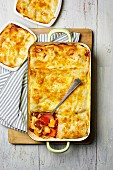 Lasagne with fried vegetables