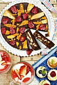 A chocolate biscuit, strawberry and fruit tart (England)