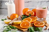 Homemade blood orange smoothies