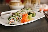 Sushi on a serving platter