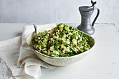 Green bulgur with kohlrabi and beans