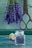 Glass of dried lavender blossoms