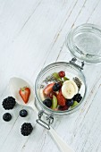 Chia pudding with fresh fruits in glass