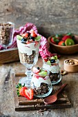 Homemade chocolate granola with yogurt