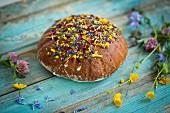 Flower bread on blue wood