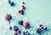Frozen summer berries with crushed ice