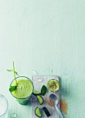 Cucumber and lime fresca with sparkling water