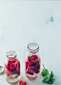 Flavoured water with strawberries and basil