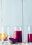 Beetroot smoothie with mango and sparkling water