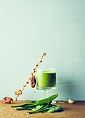 Matcha and spinach milkshake with cashews