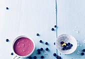 Blueberry smoothie with banana and matcha powder
