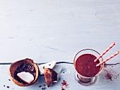 Chocolate and banana smoothie with coconut