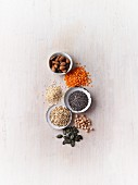 Almonds, buckwheat, chia seeds, pumpkin seeds, lentils and beans (rich in protein)